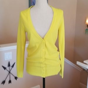 Sweaters - F21 NEON Yellow Cardigan V Neck Button Sweater S